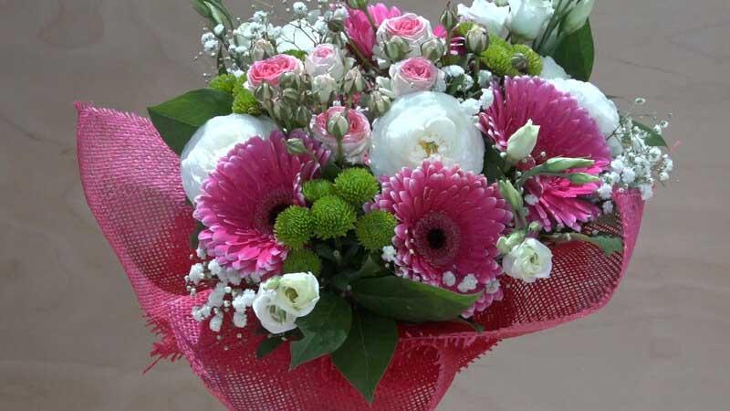 Mazzo Di Fiori E Rose.Bouquet Rosa E Bianco Con Roselline Gerbere E Lisianthus Zambon