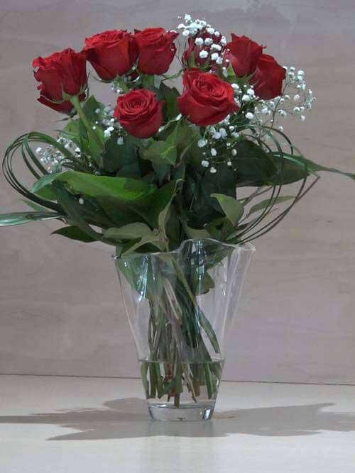 Mazzo di 12 Rose rosse a gambo lungo